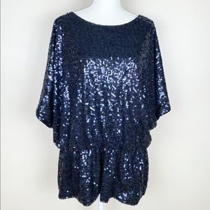 XSCAPE Navy Blue Sequined Dressy Top. Size 18W.